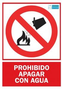 Prohibicion apagar con agua